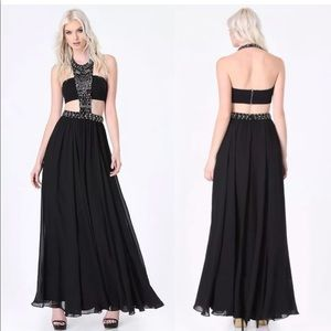 Absolutely Gorgeous Bebe Black Beaded Bandeau Gown